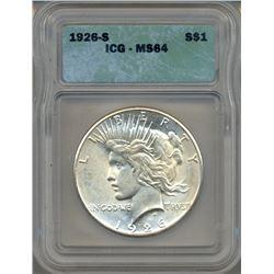1926-S $1 Peace Silver Dollar Coin ICG MS64