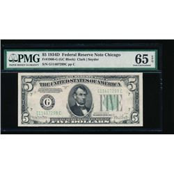 1934D $5 Chicago Federal Reserve Note PMG 65EPQ