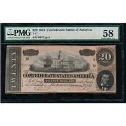 1864 $20 Confederate States of America Note PMG 58