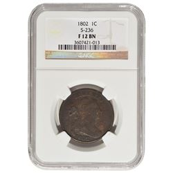 1802 Draped Bust Large Cent NGC F12BN