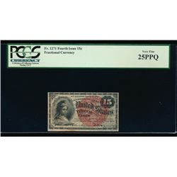 15 Cent Fourth Issue Fractional Note PCGS 25PPQ