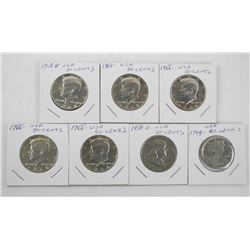 Lot (7) USA Silver Coins 6x .50cent, 1 x 25 cent .