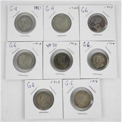 Lot (8) Canada Silver 25 Cent 1913, 1914, 1916, 19