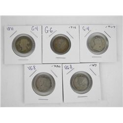 Lot (5) Canada Silver 25 Cent: 1871, 1909, 1916, 1