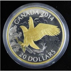 2014 $20 Fine Silver Coin - Perched Bald Eagle wit