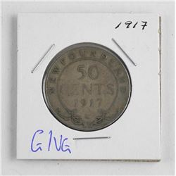 1917 Canada Silver 50 Cent. NFLD. G/VG