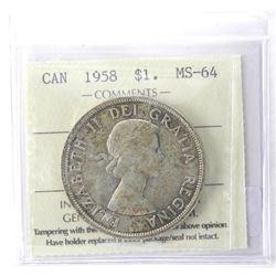 ICCS 1958 Canada Dollar MS-64