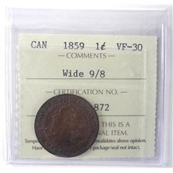 ICCS - 1859 Canada 1 Cent Wide 9/8 VF30