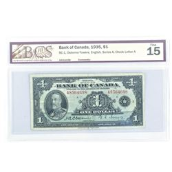 Bank of Canada 1935 One Dollar Note. Fine 15. BCS.