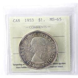 ICCS 1953 Canada Dollar NSF. MS-65.