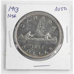 1953 Canada Silver Dollar.ξNSF. AU50