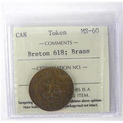 Breton 618 Brass ICCS Token MS-60