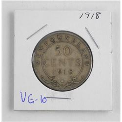1918 NFLD Silver 50 Cent. VG-10