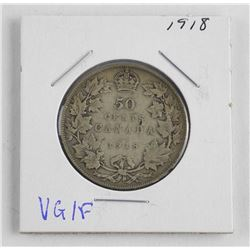 1918 Canada Silver 50 Cent. VG-F