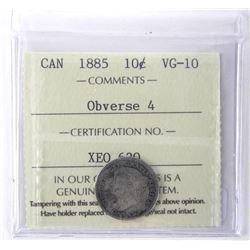 1885 Canada 10 Cent ICCS. VG-10
