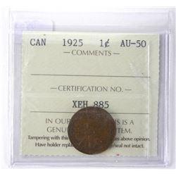 1925 Canada 1 Cent ICCS. AU50