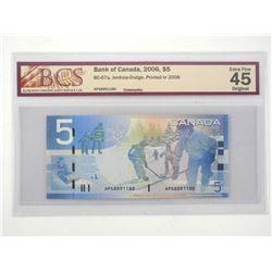 Bank of Canada 2006 Five Dollar Note. EF45 Origina