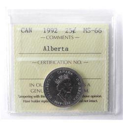1992 - 25 Cents [Alberta], MS-66