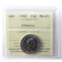 1992 - 25 Cents [Alberta], MS-65