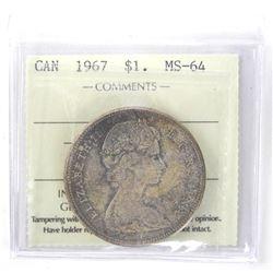 1967 Canada Silver Dollar. ICCS. MS-64