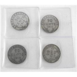 Lot (4) 925 Silver NFLD 50 Cent: 1909, 1911, 1917,