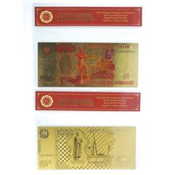 Lot (2) 24k Carat Gold Notes with C.O.A. .9999 Fin
