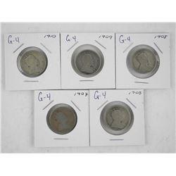 Lot (5) Canada Silver 25 Cent: 1905, 1907, 1908, 1