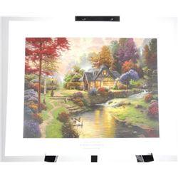 "Thomas Kinkade litho 'Still Water Cottage' 16x20"""