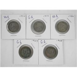 Lot (5) Canada Silver 25 Cent: 1928-1932
