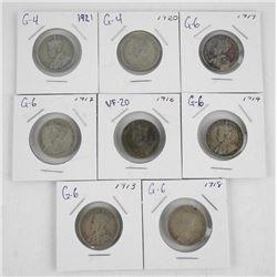 Lot (8) Canada Silver 25 Cent 1913, 1914, 1916, 19