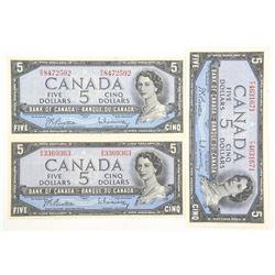 Lot (3) Bank of Canada 1954 Modified Portrait. Fiv