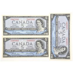 Lot (3) Bank of Canada 1954 Modified Portrait. Fiv
