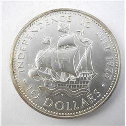 Bahamas- 1973 Silver $10.00 Coin