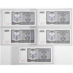 Lot (5) 1993 'BOSNUT' 5 Million Notes UNC