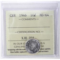 1946 Canada Silver Ten Cents ICCS. MS-64