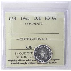 1945 Canada Silver Ten Cents ICCS. MS-64