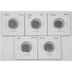 Lot (5) Canada Silver 10 Cents: 1938, 1947, 1947 M