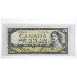 Bank of Canada 1954 - Twenty Dollar Note. Modified