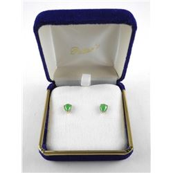 Estate - Ladies 10kt Pear Cut Cabochon Jade Stud E