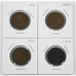 Lot (4) Canada Large 1 Cent 1900 1916, 1919, 1920.