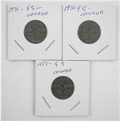 Estate Lot (3) Canada 5 Cent 1931-1935 (SOR)