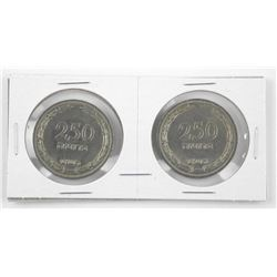 Lot (2) Israel 250 Pruta Both w/Pearl Variety.