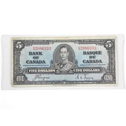 Bank of Canada 1937 Five Dollar Note (F) (C/T)