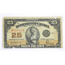 Dominion of Canada Twenty Five Cent Note (F+)