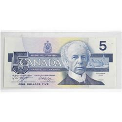 1986 Bank of Canada Five Dollar Note. 5.6m Mintage