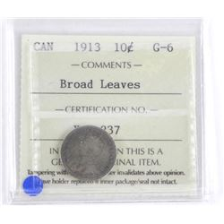 1913 Canada Silver 10 Cent Broad Leaves. ICCS. G-6