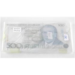 Brazil BRICK (100) 500 Cruzados Notes in Sequence