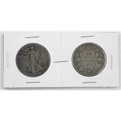 Pair - 1918 Canada and USA Silver 50 Cent