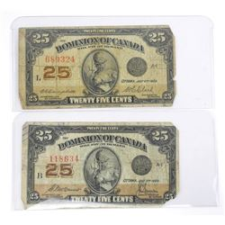 Lot (2) Dominion of Canada 1923 25 Cents.