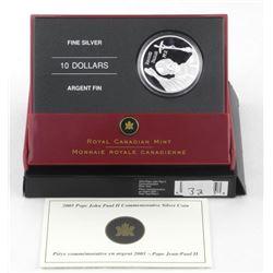 .999 Fine Silver $10.00 Coin 'Pope John Paul II'